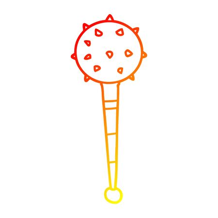 warm gradient line drawing of a cartoon medieval mace Illustration