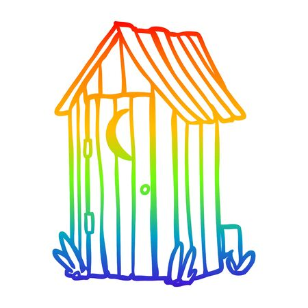 rainbow gradient line drawing of a traditional outdoor toilet with crescent moon window