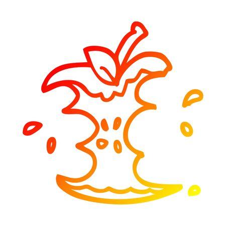 warm gradient line drawing of a cartoon juicy bitten apple