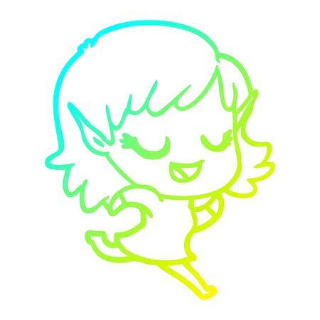 cold gradient line drawing of a happy cartoon elf girl running