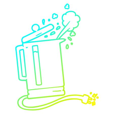 cold gradient line drawing of a cartoon electric kettle boiling  イラスト・ベクター素材