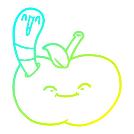 cold gradient line drawing of a cartoon happy worm in an apple