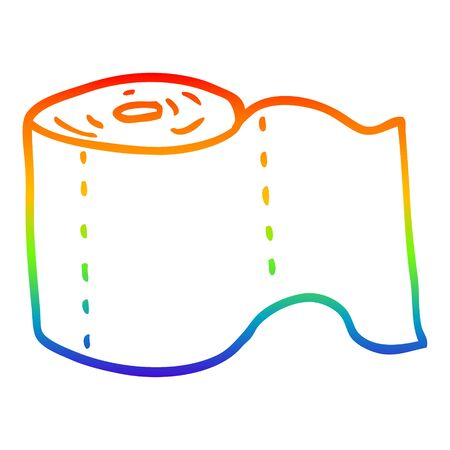 rainbow gradient line drawing of a cartoon toilet roll Archivio Fotografico - 129129166