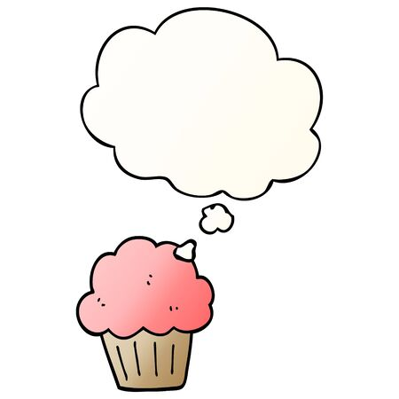 cartoon  muffin with thought bubble in smooth gradient style