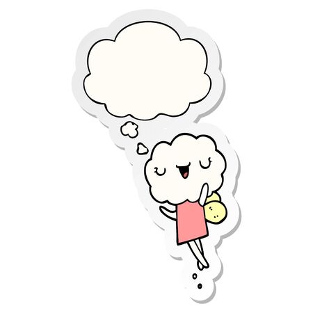 cute cartoon cloud head creature with thought bubble as a printed sticker