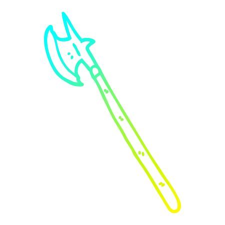 cold gradient line drawing of a cartoon medieval weapon
