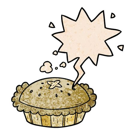 hot cartoon pie fresh out of the oven with speech bubble in retro texture style