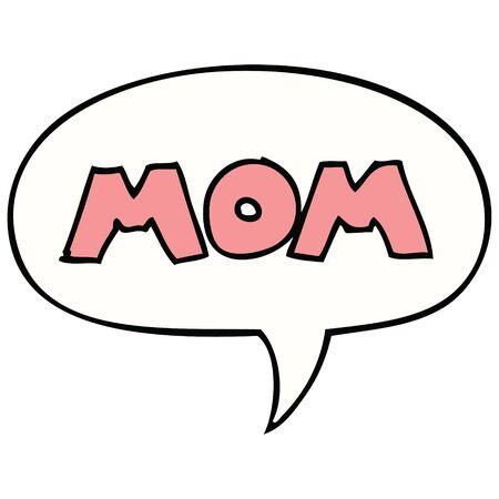 cartoon word mom with speech bubble