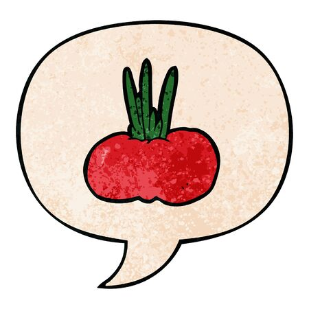 cartoon vegetable with speech bubble in retro texture style