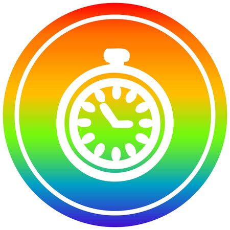 stop watch circular icon with rainbow gradient finish