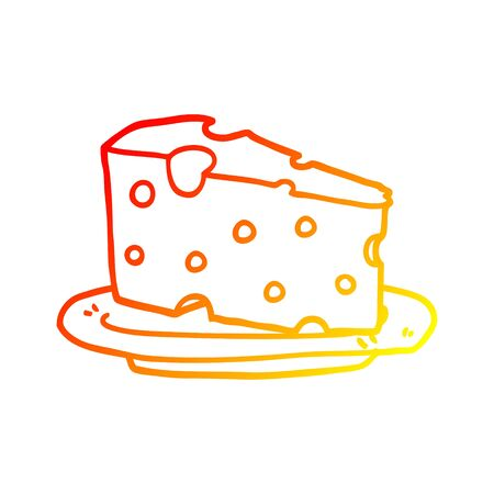 warm gradient line drawing of a cartoon cheese on plate