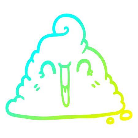 cold gradient line drawing of a cartoon poop