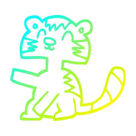 cold gradient line drawing of a funny cartoon cat Illustration