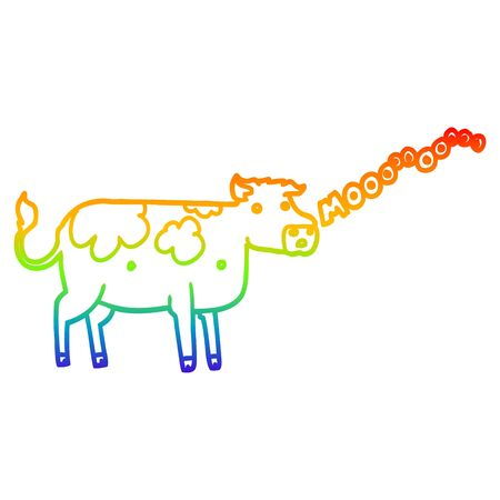 rainbow gradient line drawing of a cartoon cow