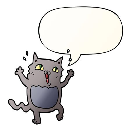 cartoon crazy excited cat with speech bubble in smooth gradient style