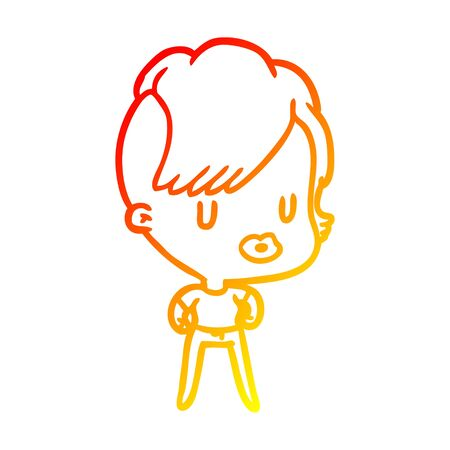 warm gradient line drawing of a girl with punk hipster haircut 向量圖像