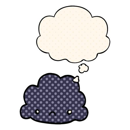 cartoon cloud with thought bubble in comic book style Stok Fotoğraf - 129254744