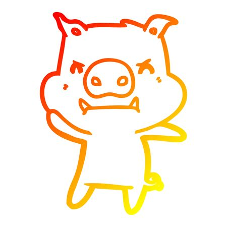 warm gradient line drawing of a angry cartoon pig