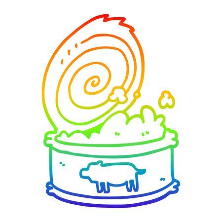 rainbow gradient line drawing of a cartoon canned food 版權商用圖片 - 129254761