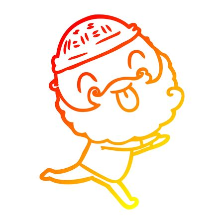 warm gradient line drawing of a running man with beard sticking out tongue  イラスト・ベクター素材