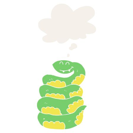 cartoon snake with thought bubble in retro style