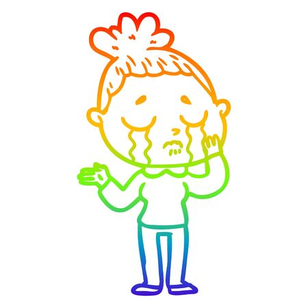 rainbow gradient line drawing of a cartoon crying woman