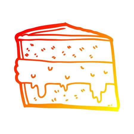 warm gradient line drawing of a cartoon cake Иллюстрация