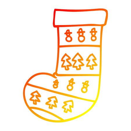 warm gradient line drawing of a cartoon christmas stocking Ilustrace