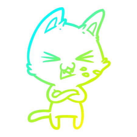 cold gradient line drawing of a cartoon cat with crossed arms 向量圖像