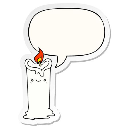 cartoon candle with speech bubble sticker Ilustrace