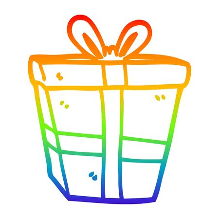 rainbow gradient line drawing of a cartoon gift wrapped present Stock Illustratie