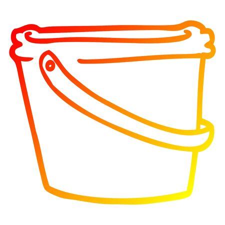 warm gradient line drawing of a cartoon bucket