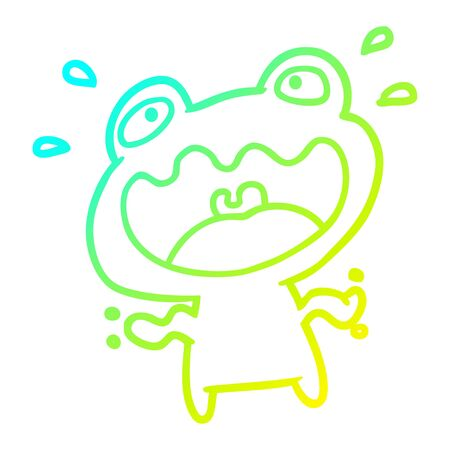 cold gradient line drawing of a cute frog frightened  イラスト・ベクター素材