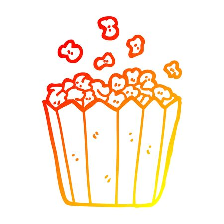 warm gradient line drawing of a cartoon popcorn