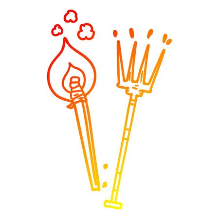 warm gradient line drawing of a cartoon pitchfork and burning brand Illustration