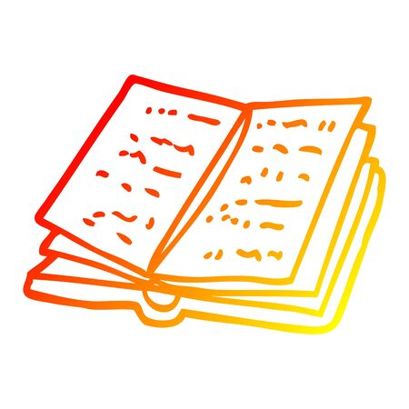 warm gradient line drawing of a cartoon open book Çizim