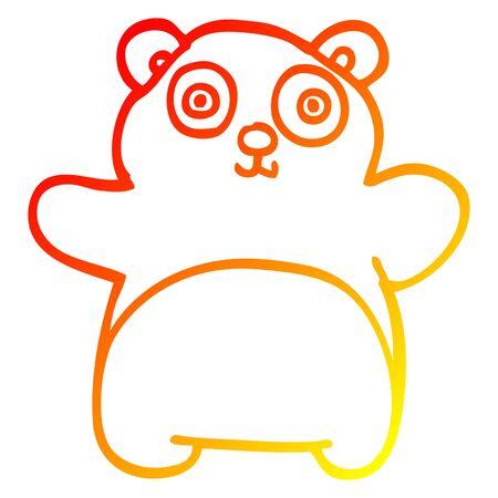 warm gradient line drawing of a cartoon happy panda