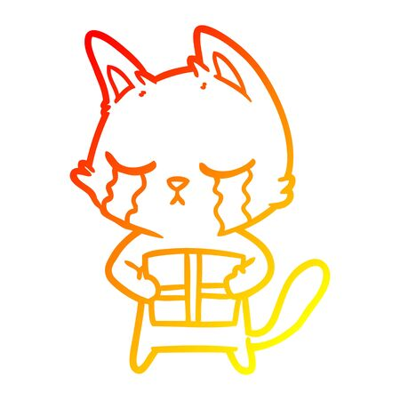 warm gradient line drawing of a crying cartoon cat holding christmas present  イラスト・ベクター素材