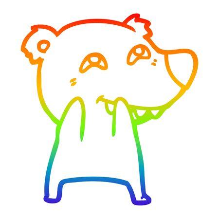 rainbow gradient line drawing of a cartoon polar bear showing teeth