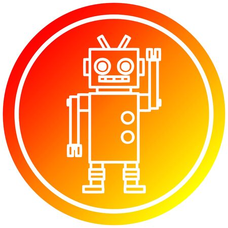 dancing robot circular icon with warm gradient finish