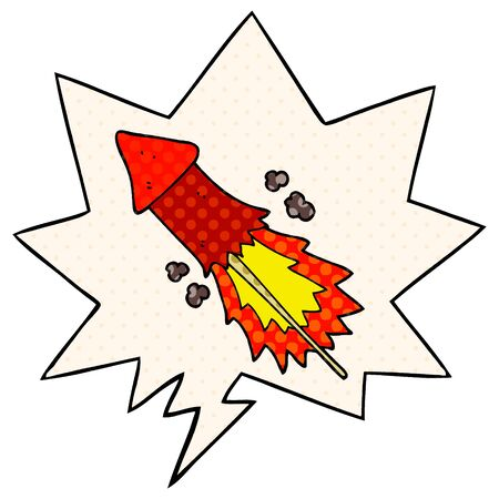 cartoon firework with speech bubble in comic book style Ilustracja