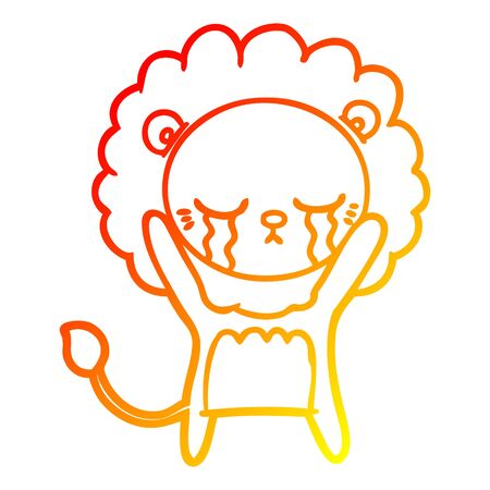 warm gradient line drawing of a crying cartoon lion