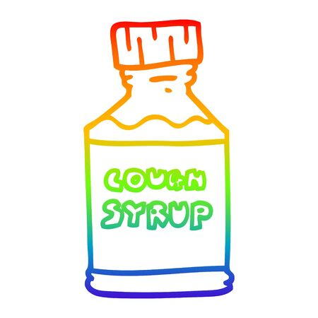 rainbow gradient line drawing of a cartoon cough syrup Illustration