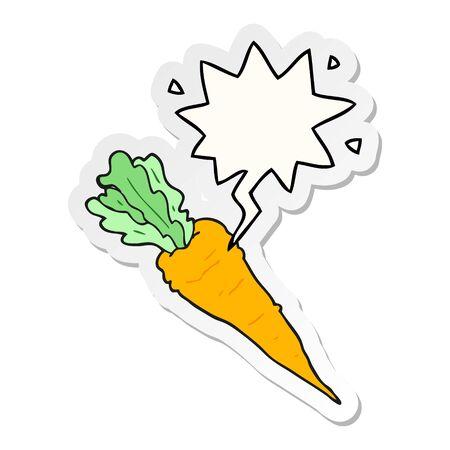 cartoon carrot with speech bubble sticker