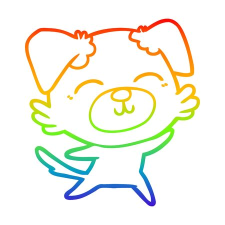 rainbow gradient line drawing of a cartoon dog