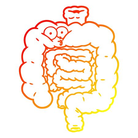 warm gradient line drawing of a cartoon surprised intestines