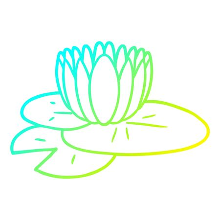 cold gradient line drawing of a cartoon water lily