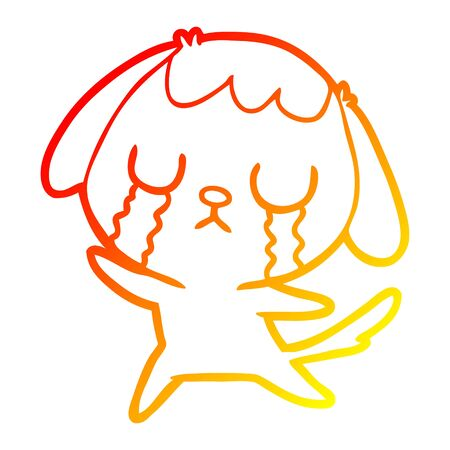 warm gradient line drawing of a cute cartoon dog crying