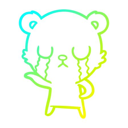 cold gradient line drawing of a crying cartoon bear