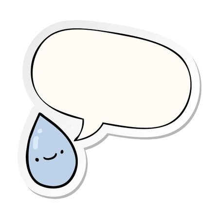 cartoon raindrop with speech bubble sticker